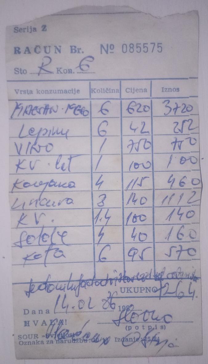 Račun iz prošlosti 1986.