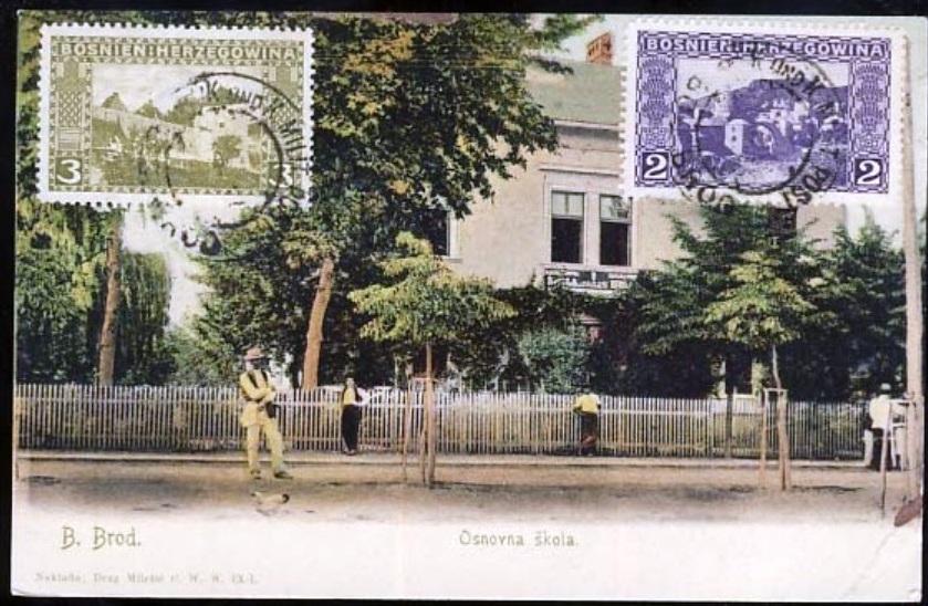 Razglednica Brod Osnovna Skola naklada Dragutin Miletic 1902